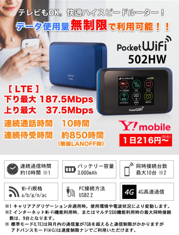 無制限の高速WiFiを格安レンタル