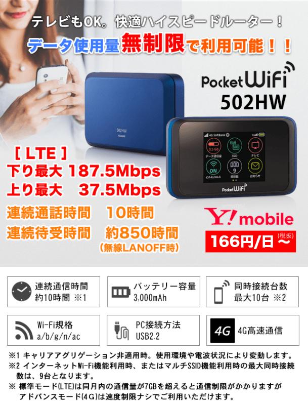 PocketWi-Fiを1日166円から格安レンタル